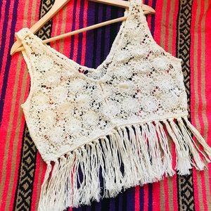 Zara Woven Crocheted Fringe Vest/Top Cream Size L